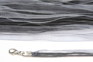 Dark Silver Silk Organza Ribbon Necklace