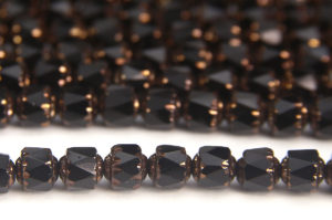 Black Gloss, Copper Crowned Facetted Cathedral Beads