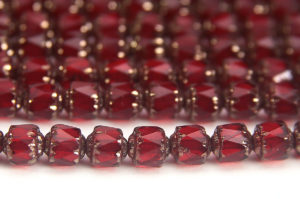 Ruby, Bronze Crowned Facetted Cathedral Beads