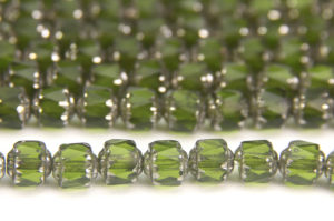 Olive, Silver Crowned Facetted Cathedral Beads
