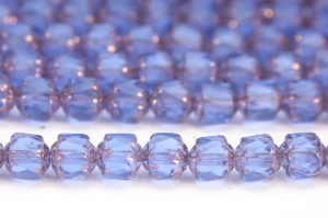 French Blue, Copper Crowned Facetted Cathedral Beads