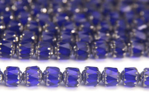 Navy Blue, Silver Crowned Facetted Cathedral Beads