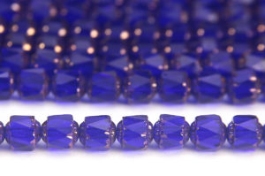 Cobalt Blue, Copper Crowned Facetted Cathedral Beads