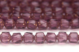 Rich Amethyst, Copper Crowned Facetted Cathedral Beads