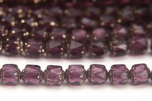 Plum, Silver Crowned Facetted Cathedral Beads