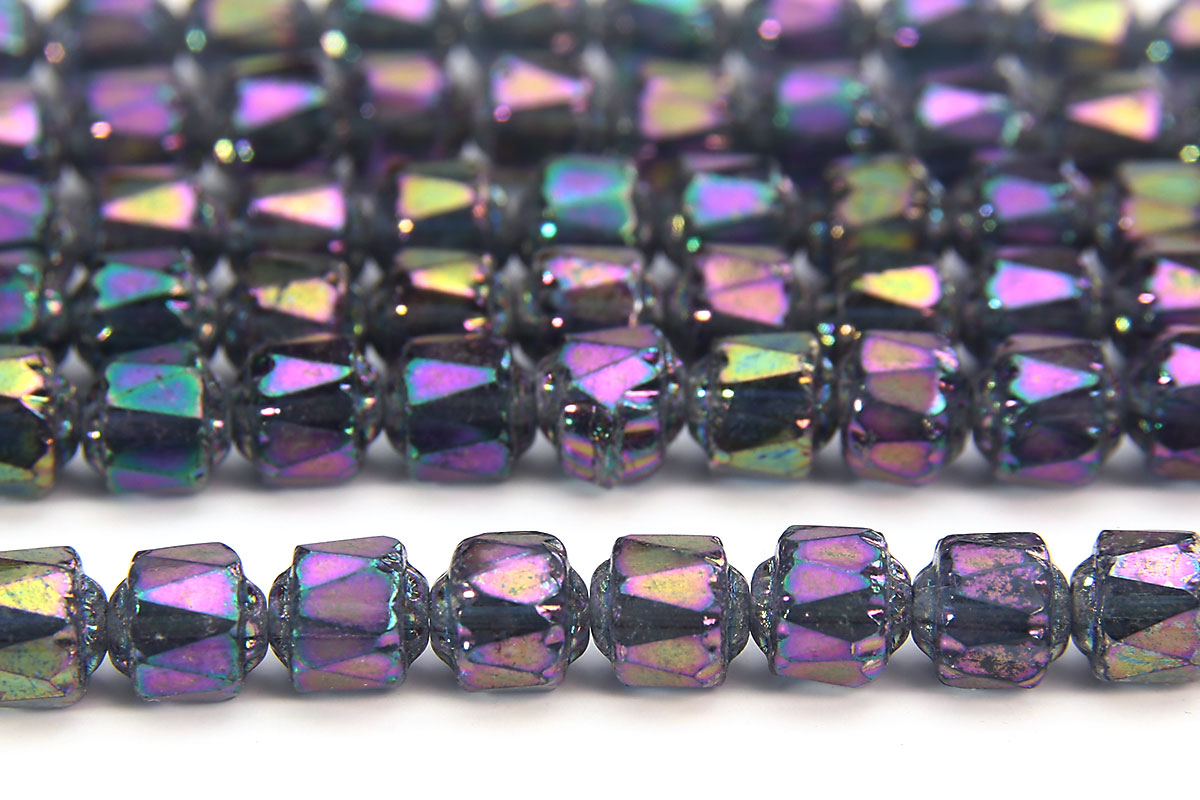 Metallic Rainbow Facetted Cathedral Beads