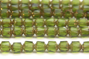 Olive, Copper Crowned Facetted Cathedral Beads