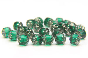 Emerald, Silver Crowned Facetted Cathedral Beads