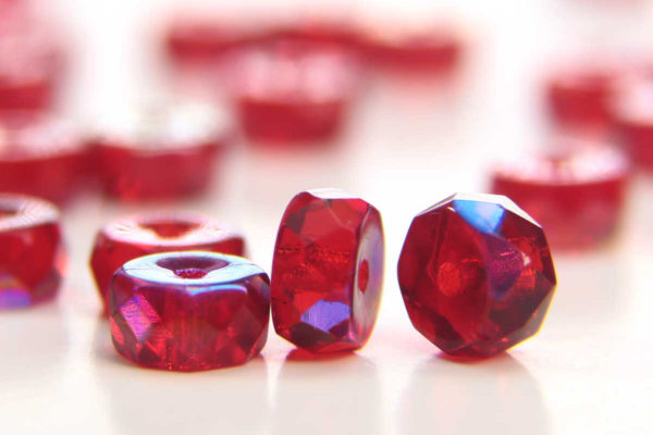 Ruby AB Czech Glass Rondelle Spacers