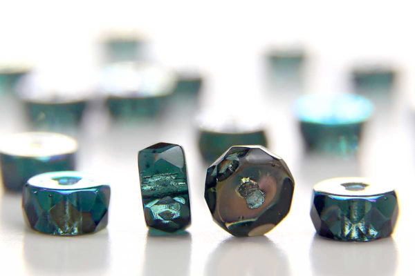 Midnight Green AB Czech Glass Rondelle Spacers