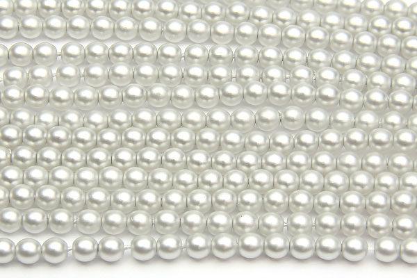 4mm Artic Silver Frosted Preciosa Glass Pearl Beads