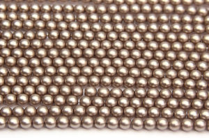 4mm Mocha Frosted Preciosa Glass Pearl Beads