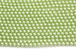 4mm Pastel Pistachio Frosted Preciosa Glass Pearl Beads