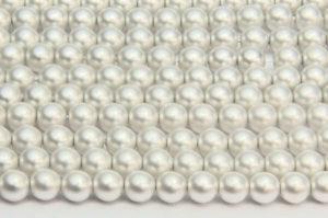 6mm Artic Silver Frosted Preciosa Glass Pearl Beads