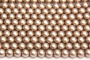6mm Mocha Frosted Preciosa Glass Pearl Beads