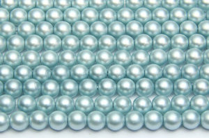 6mm Pastel Sky Blue Frosted Preciosa Glass Pearl Beads