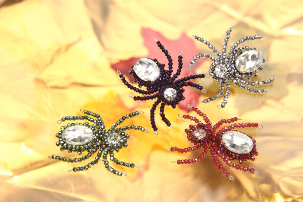 All Sparkly Beaded Spiders