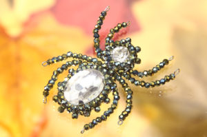 Glorious Green Sparkly Beaded Spider
