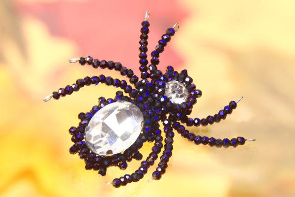 Midnight Purple Beaded Spider