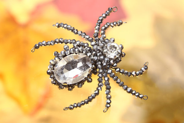 Silver Sparkly Beaded Spider