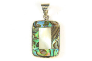 Abelone and Mother of Pearl Rectangle Pendant