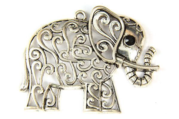Silver Filagree Elephant Pendant