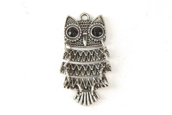 Silver Decorative Owl Pendant