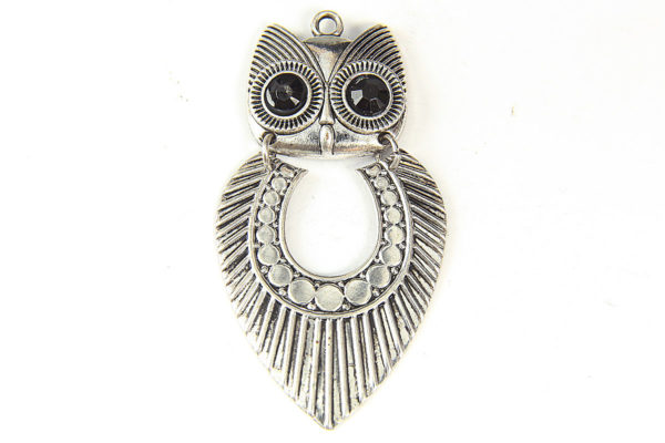 Silver Feather Owl Pendant