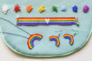 Rainbow Bracelet, Pendant & Earrings Set